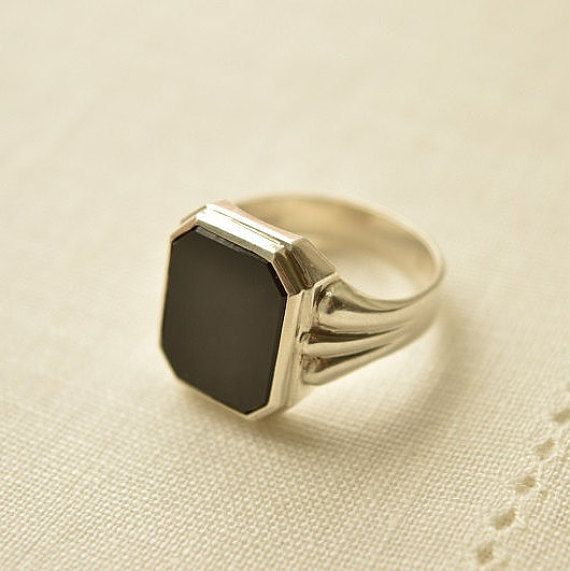 Art Deco ONYX Silver 835 Signet RING Art Deco Ring by FromAttic