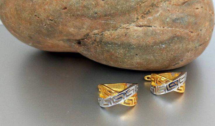 Meander greek key silver earrings greek by ThetisTreasures