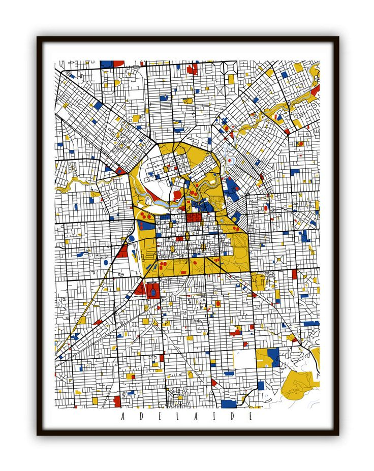 Adelaide Map Art / Adelaide Australia Wall Art / Print / Poster / Modern Decor/ (24.00 USD) by MondrianMapArt