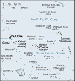 The Battle of Tarawa was fought on Tarawa Atoll from 20 November to 23 November 1943. It was the second offensive of the U.S. in the Pacific, the first being the Guadalcanal Campaign. It was the first battle of the Central Pacific campaign of island hopping to the Japanese mainland. It was also the first time U.S. amphibious landing that faced serious Japanese resistance. The United States forces totaled some 35,000 troops under Rear Admiral Howard F. Kingman and General Holland Smith. The…