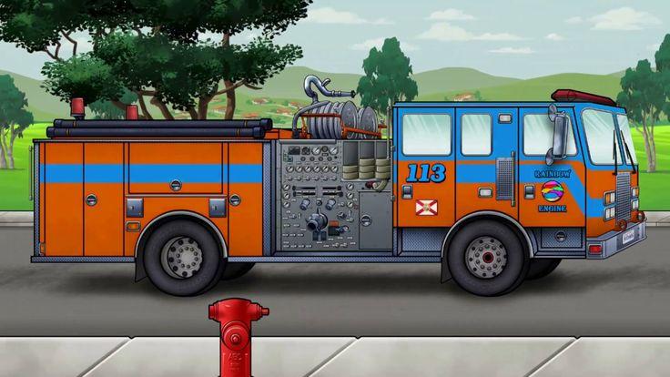 Caminhao de bombeiro desenho | Aprender as cores com caminhao de bombeir...