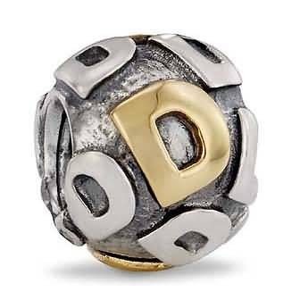 Pandora Letter D Charm 14k Gold and Sterling Silver