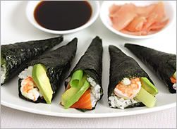 Sushi hand rolls...you just roll watever you want into the sushi cone.