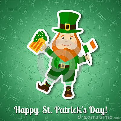 Saint Patrick's Day greeting card. Cute leprechaun with beer and Ireland flag. Vector illustration