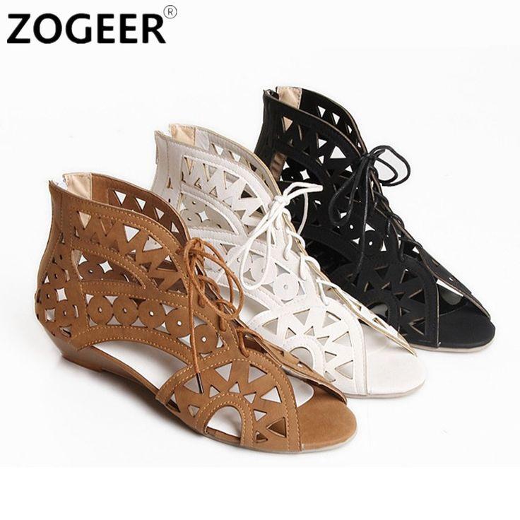 Grande Taille 34 43 Mode Découpes Lacent Femmes Sandales Chaude 2017 À Bout Ouvert Bas Cales Jaune Noir Blanc Chaussures d'été dans Femmes de Sandales de Chaussures sur AliExpress.com | Alibaba Group