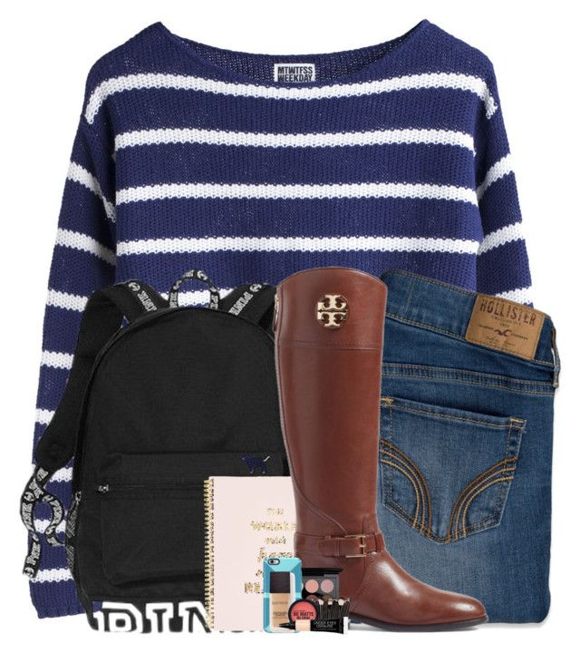 """""""poly in school"""" by arielforlife ❤ liked on Polyvore featuring Hollister Co., Victoria's Secret, Kate Spade, Tory Burch, MAC Cosmetics, Speck and Laura Mercier"""
