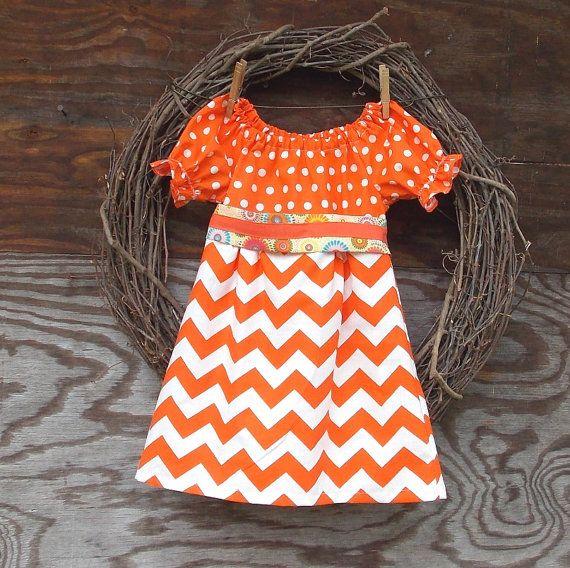 Girls Orange Dress, Girls Peasant Dress, Girls Chevron Dress, Orange Chevron, Girls Fall Dress