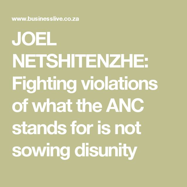 JOEL NETSHITENZHE: Fighting violations of what the ANC stands for is not sowing disunity