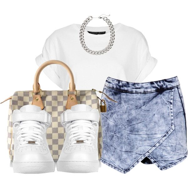 A fashion look from July 2014 featuring Topshop t-shirts, Boohoo mini skirts and Louis Vuitton handbags. Browse and shop related looks.