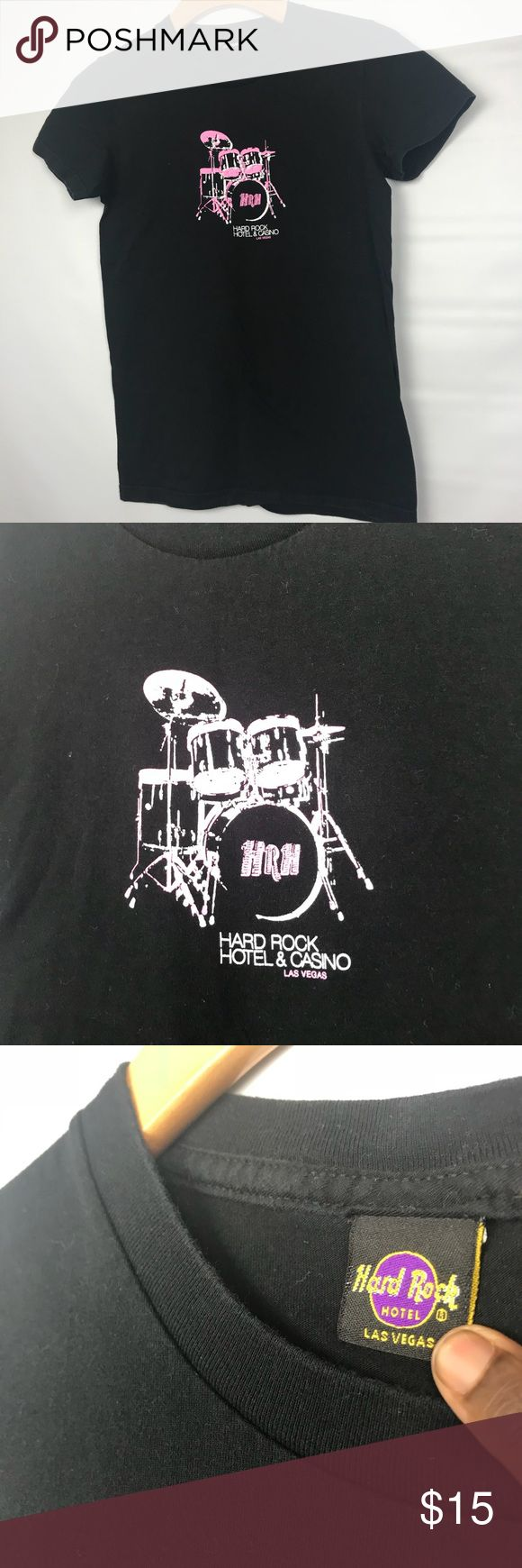 """HARD ROCK HOTEL Vegas Black T-shirt Size Small Hard Rock Hotel and Casino Vegas T-shirt Size Small Cotton Pit to pit 16"""" Length is 24"""" Please note that this is a used item. Normal fade from wash and wear.  #X Hard Rock Cafe Tops Tees - Short Sleeve"""