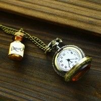 Wish | Drink Me Wishing bottle pocket Alice in Wonderland Long necklaces (Size: 40 cm, Color: Tan)