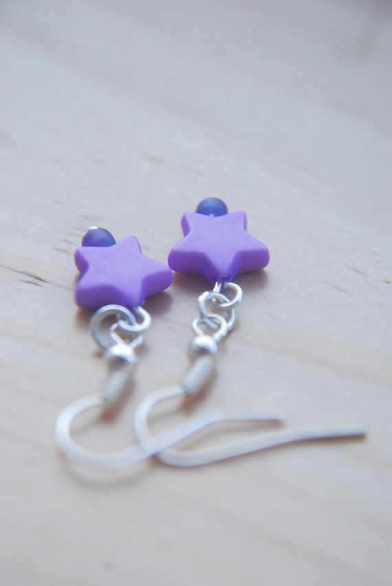 Hey, I found this really awesome Etsy listing at https://www.etsy.com/listing/195456139/purple-star-earrings-coloured-star
