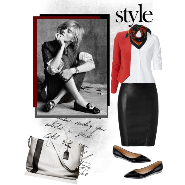 nix the leather skirt - just a black pencil and maybe heels instead of flats.