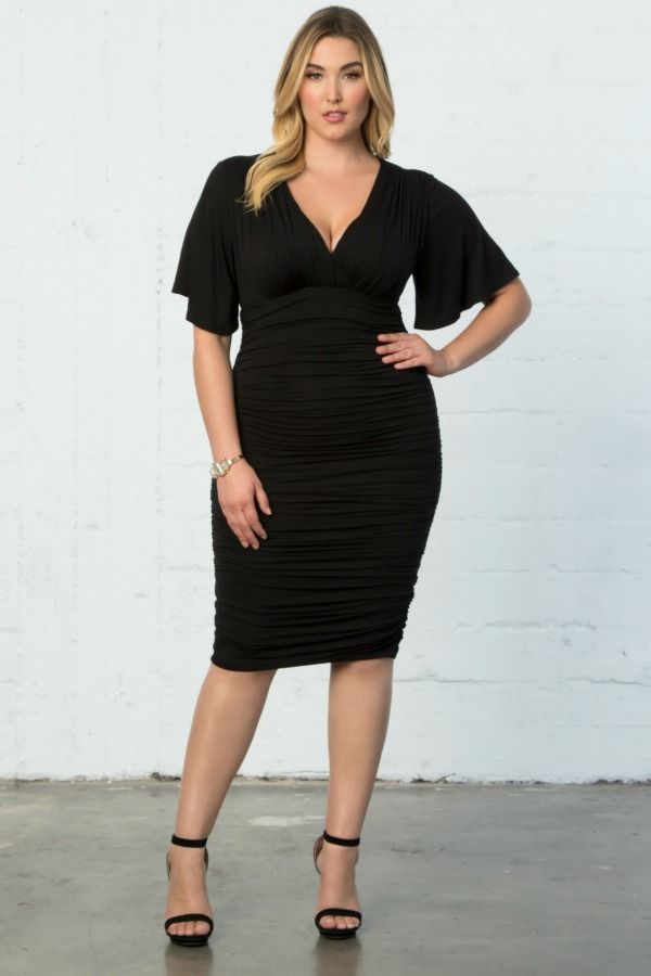 b56ec950065 Our plus size Rumor Ruched Dress is a bodycon style you ll feel comfortable  and sexy in. Designed with soft