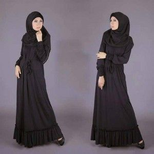 Busana muslim gamis hitam spandex S359