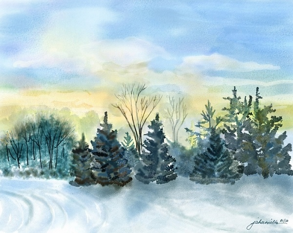 """Sun Came Up Blue and Gold"" - Digital watercolour, in Snowy Landscapes"