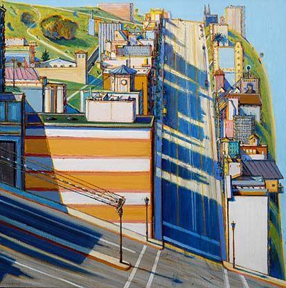 I love Wayne Thiebaud's interpretation of San Francisco, the color and extreme angles.