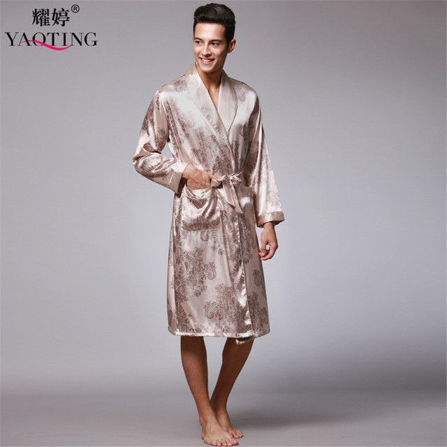 COCKCON New Arrival Black Hot Chinese Men's Dragon Robes Traditional Male Sleepwear Nightwear Kimono With Bandage wp020