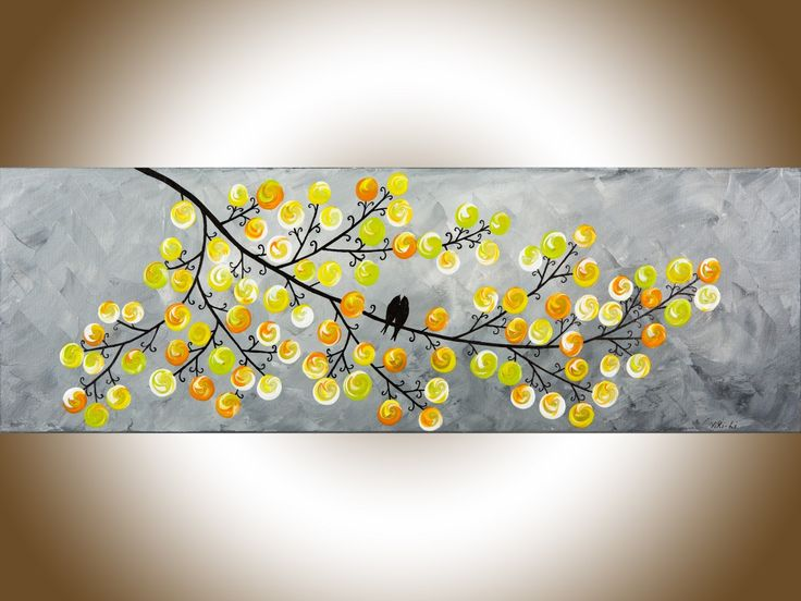 """Spring Love 1 by QIQIGallery 36"""" x 12"""" Yellow Grey Abstract art colorful modern wall art love birds home decor wall decor wall hanging original artwork"""