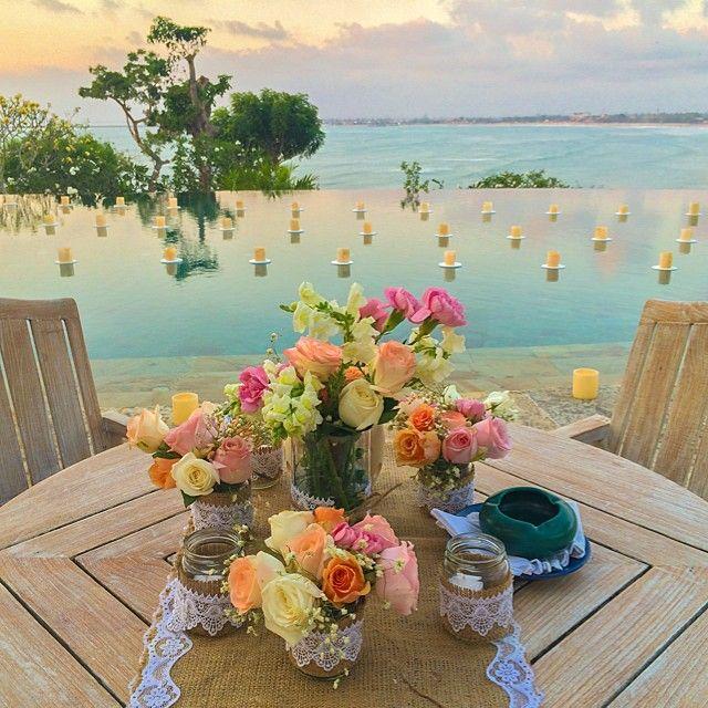 Infinity pool deck wedding reception.