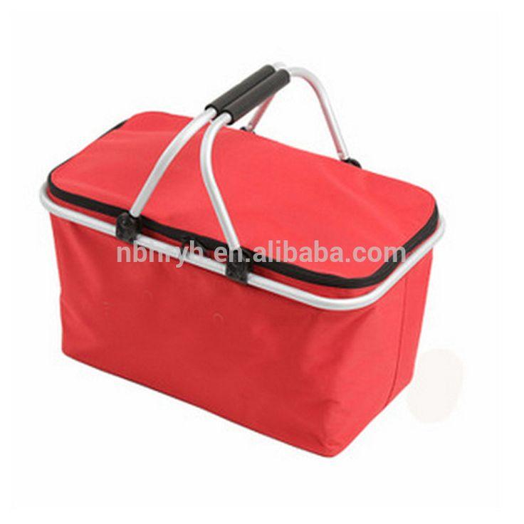 Aluminum lunch cooler bag cooler foldable two handle cheap shopping basket