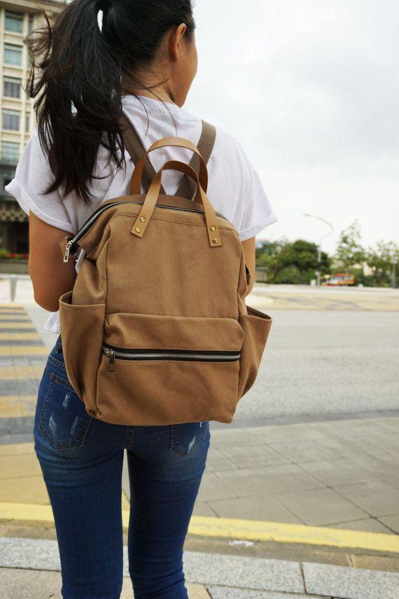 SALE 15% Canvas diaper brown Backpack Brown Bag Canvas