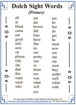 list of all 220 dolch sight words broken up into five categories by reading level print out your sight words list and then check out the printable sight
