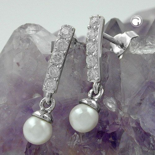 Stecker, Zirkonia mit Perle, Silber 925  Steg mit je 4x Zirkonia, Perle-Imitation als Ohrbehang, Oberfläche anlaufgeschützt rhodiniert