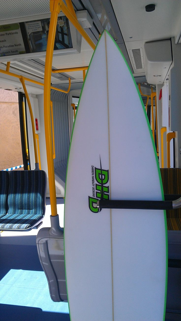 Custom made surf board racks on board the G;Link for the many surfers of the Gold Coast.