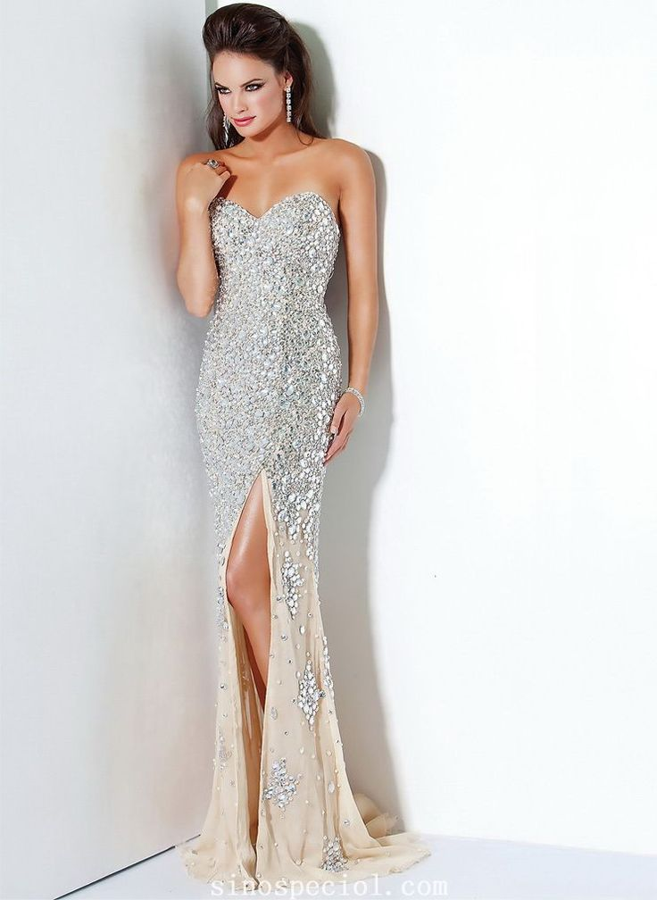 Attractive Sheath/Column Sweetheart Side Split Rhinestones Floor Length Evening Dress