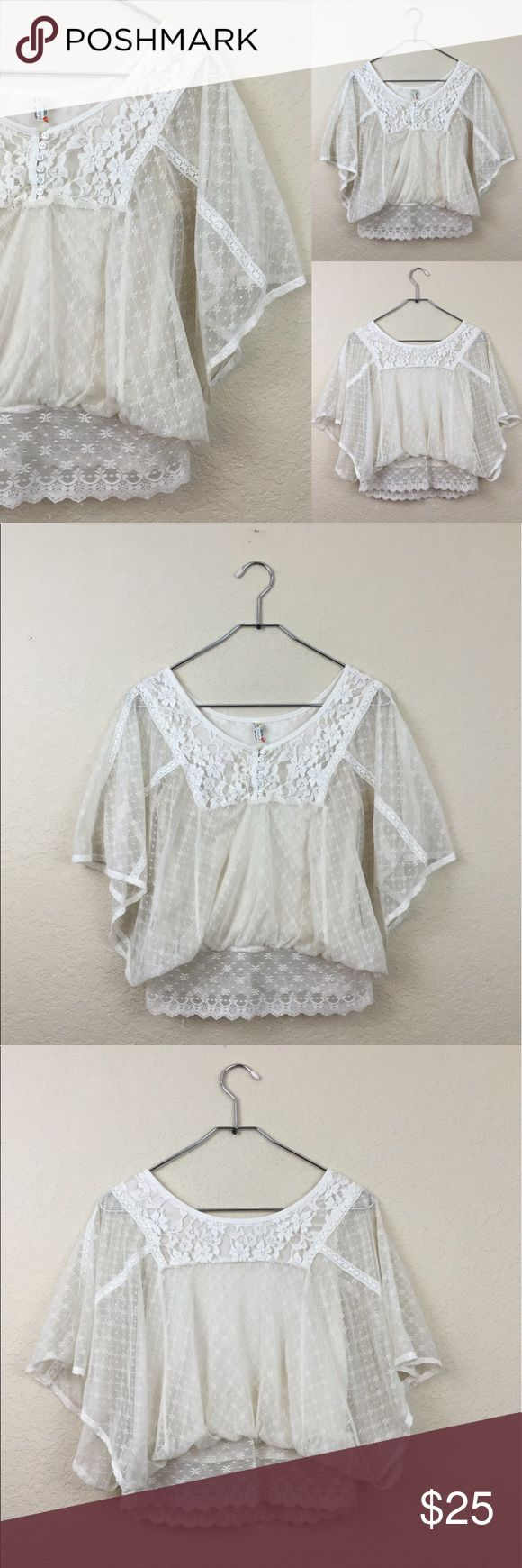 Free people blouse • free people • Lace cream batwing blouse • Size XS  • $78 Free People Tops Blouses
