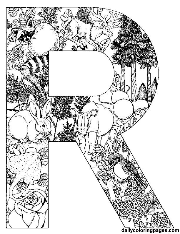 R letter filled with R words  http://dailycoloringpages.com/alphabet-letters-to-print/challenging-animal-alphabet-letters-to-print/