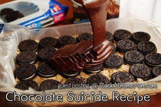 Chocolate Suicide Recipe [Chocolate Chip Cookie & Brownie Mix with Oreos] | StuckAtHomeMom.com