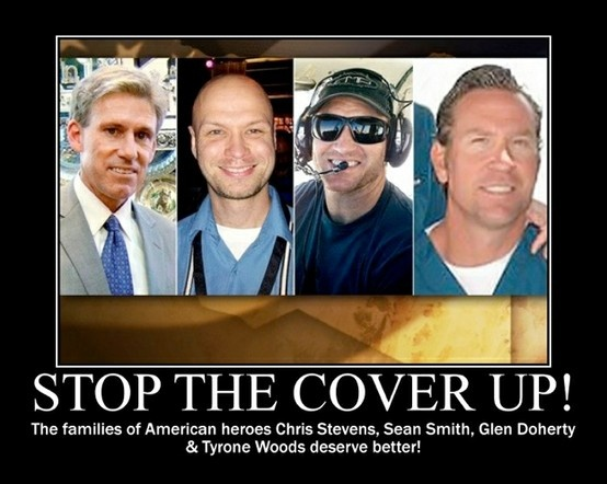 The 4 Americans slaughtered on 9/11/12 in Benghazi, Libya because Obama, Hillary, Panetta and the rest of them refused the repeated pleas for help. Read 13 Hours in Benghazi by 3 of the CIA contractors who were there and witnessed, with eyes and ears, what went down and how.