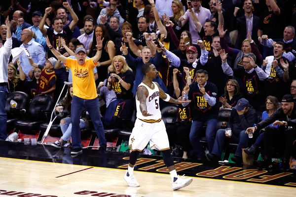 J.R. Smith Photos Photos - JR Smith #5 of the Cleveland Cavaliers reacts after a basket in the second half against the Golden State Warriors in Game 3 of the 2017 NBA Finals at Quicken Loans Arena on June 7, 2017 in Cleveland, Ohio. NOTE TO USER: User exp