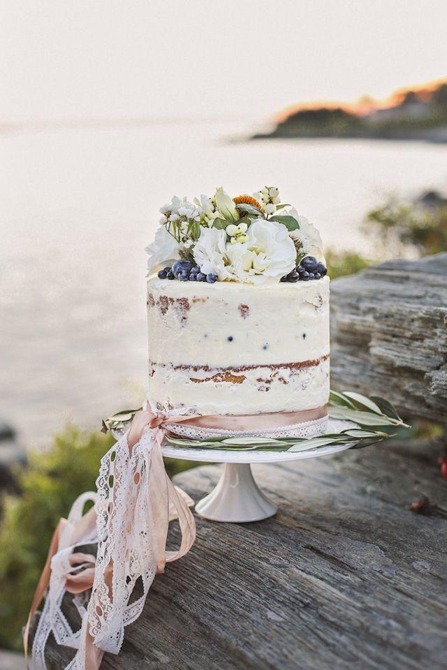 Vintage inspired cake with ribbons   Amanda Berube Photography   see more on:  http://burnettsboards.com/2014/11/whimsical-rocky-coast-wedding-inspiration/