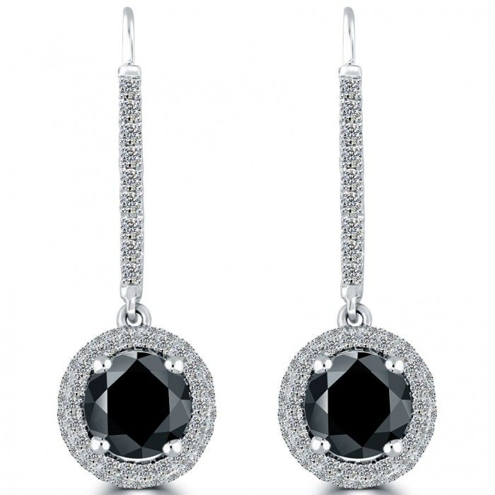 This Stunning Pair Diamond Drop Earrings Is Set With Two Round Brilliant Fancy Black Center Diamonds White F Vs Are Around The