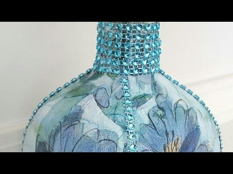 DIY Upcycled Bottle | Dollar Tree Napkins & Bling | Mod Podge - YouTube