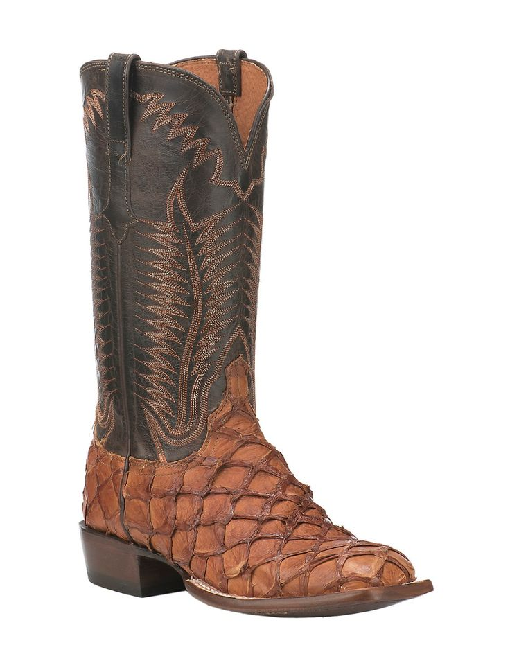Lucchese 1883 Men's Cognac Pirarucu with Chocolate Burnished Mad Dog Goat Upper Exotic Square Toe Boots | Cavender's