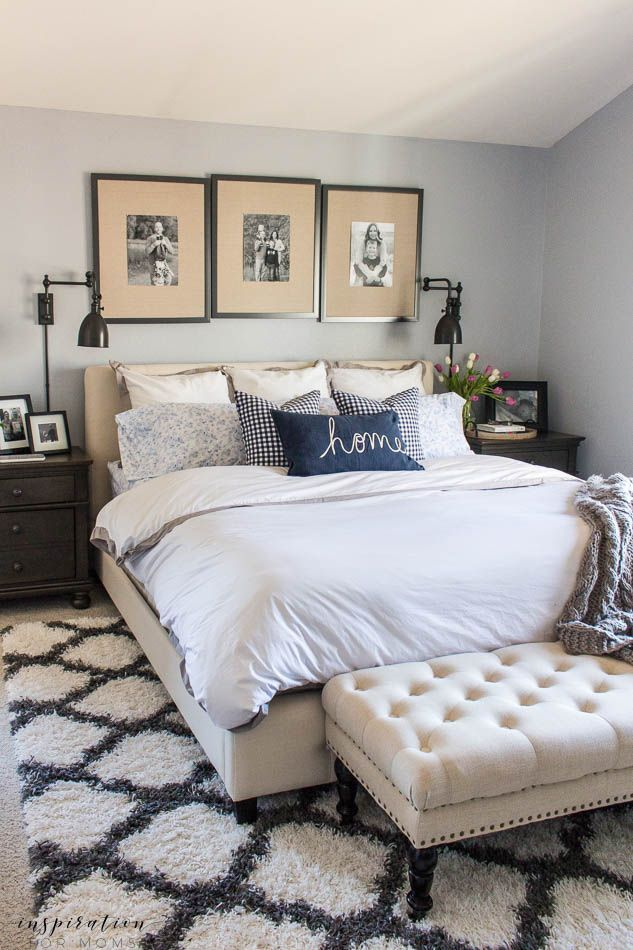 Home Decorating DIY Projects : Spring Master Bedroom Gingham Pillows Navy  White Gray Upholstered Bench  Read More U2013