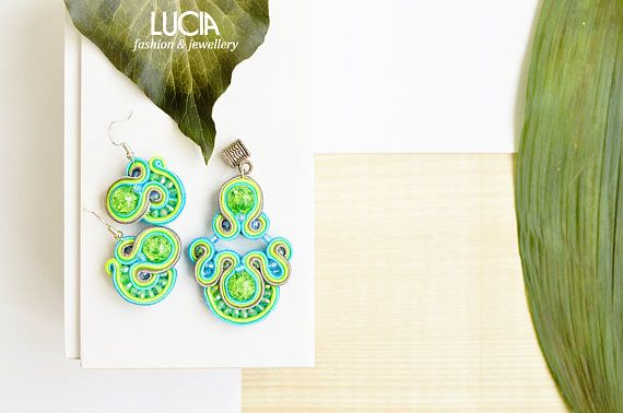 Unique green soutache set Summer coloured beaded pendant and