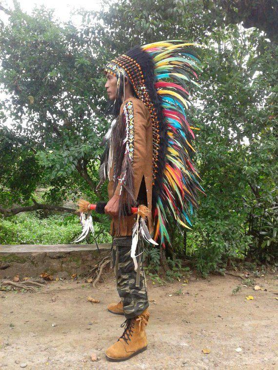 Extra LONG Indian Headdress Native American by TheLandOfCockaigne