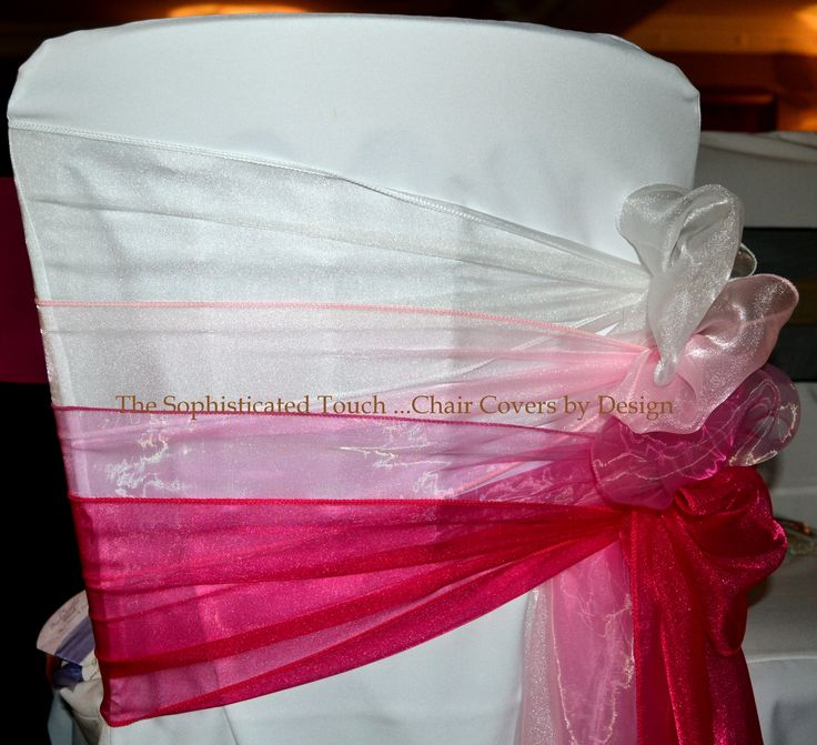 Pink Ombre Organza Bows on White Chair Cover.  The Sophisticated Touch ...Chair Covers by Design.  www.thesophisticatedtouch.co.uk