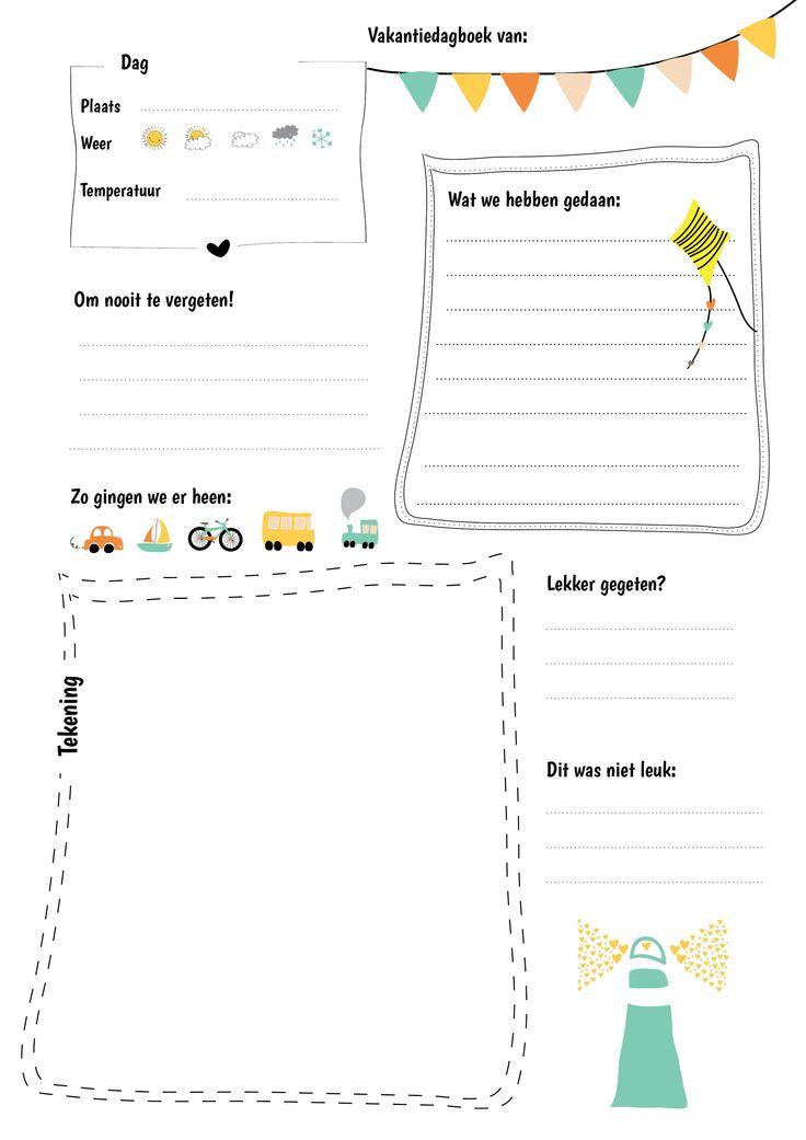 Dit vakantiedagboek kun je uitprinten en dagelijks door je kinderen laten invullen. Als je het na de vakantie bij elkaar bindt, heb je een leuk dagboek.