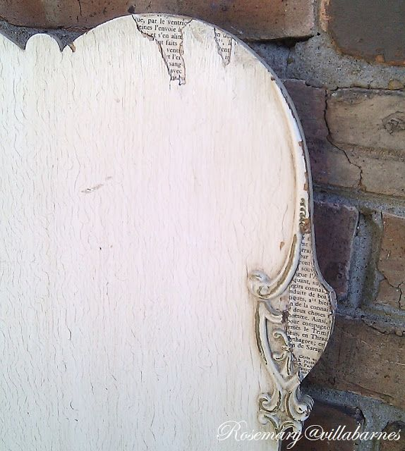 villabarnes: add pages of print to areas of missing veneer on chair - This is such a great idea!  I just love it!