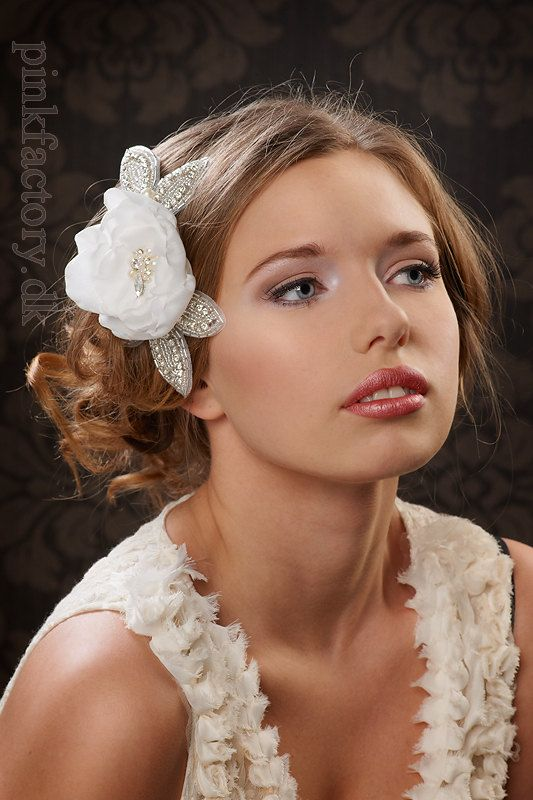 Romantic hair flower with rhinestone leaves