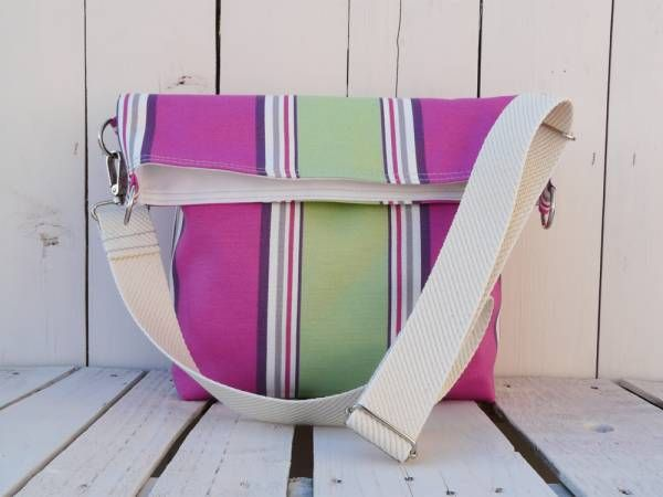 Tote Bag Canvas Striped cross body messenger nautical beach bag, unique gift for women, unique gift for sister, eco friendly bag