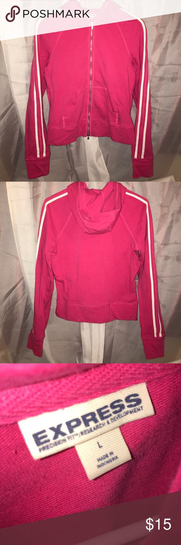 Women's EUC hot pink zip up Excellent condition, wore twice. Hot pink zip up with two white stripes down arm Express Tops Sweatshirts & Hoodies