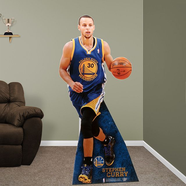 Fathead Stephen Curry Stand Out – Non-adhesive. Fathead Stand Outs are self-standing, life-size, action images printed on one piece of durable, high density foam core.  SHOP: http://www.fathead.com/nba/golden-state-warriors/stephen-curry-stand-out-cut-out/ Golden State Warrior Party Decor | Man Cave | Kids Bedroom | Golden State Room