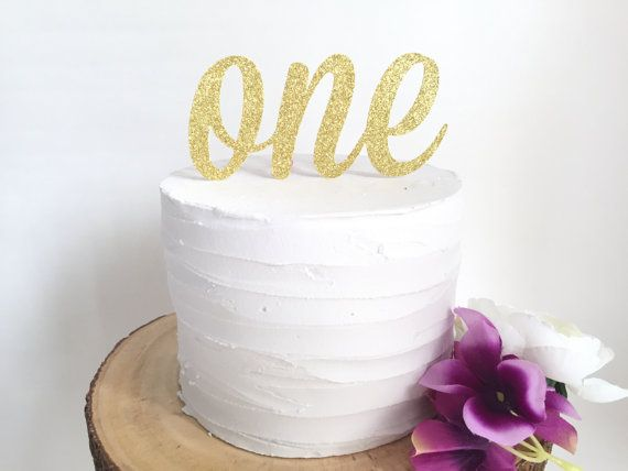 Gold Glitter First Birthday Cake Topper number by mikaspartyshop